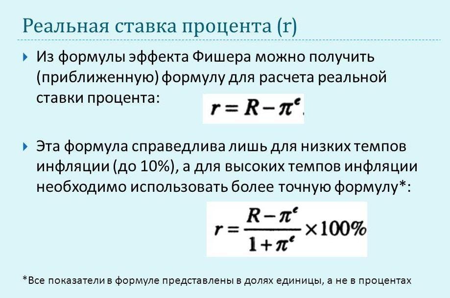 Расчет безрисковой ставки по формуле И. Фишера