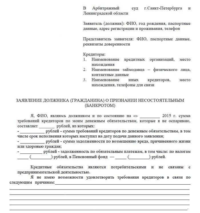 Заявление в суд о банкротстве