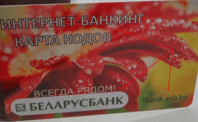 Карта кодов Беларусбанка